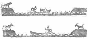 лодка перевозит груз с одного берега на другой